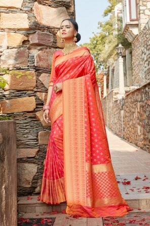 red soft silk fabric weaving work wedding