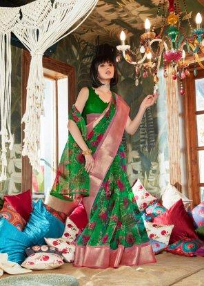 green organza silk fabric printed work festival