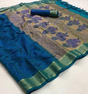 blue satin silk fabric weaving work festival
