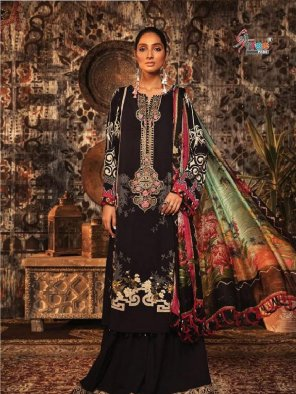charcoal pashmina fabric embroidery work festival