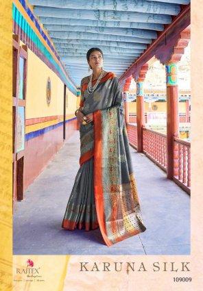 grey silk fabric weaving work festival