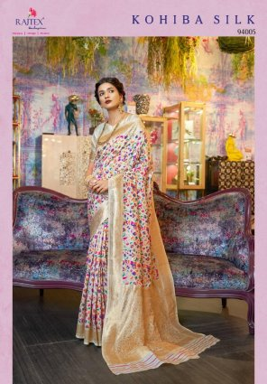 off white silk fabric weaving work wedding