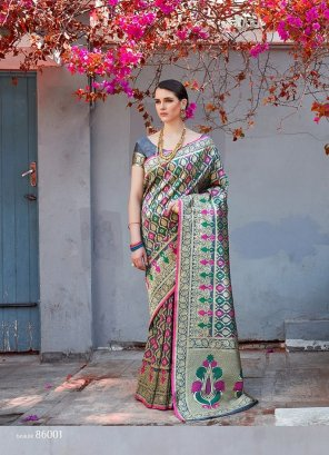 grey banarasi silk fabric weaving work wedding