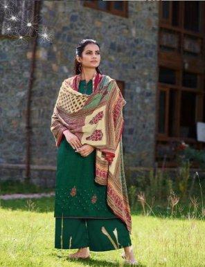 green pashmina fabric digital print work festival wear