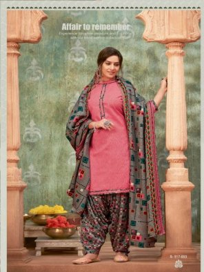 pink pashmina fabric printed work casual wear
