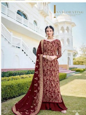 maroon jacquard fabric hand work work wedding wear