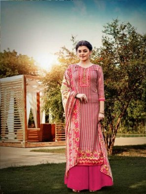 peach pashmina fabric printed work festival wear