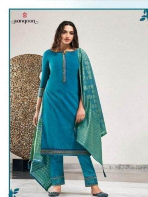 sky banarasi silk fabric printed work casual wear