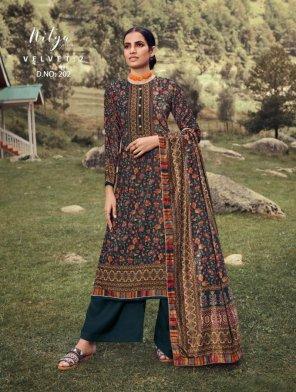 peacock velvet fabric digital print work festival wear