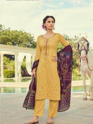 yellow pashmina fabric embroidery work festival