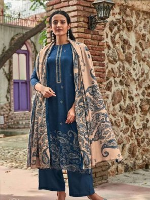 navy blue pashmina fabric embroidery work festival