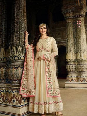 off white dola silk fabric embroidery work wedding