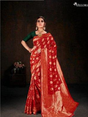 red banarasi silk fabric weaving work festival