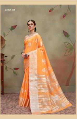 orange linen silk fabric weaving work festival