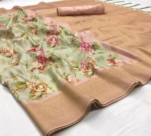 light pista silk fabric printed work festival