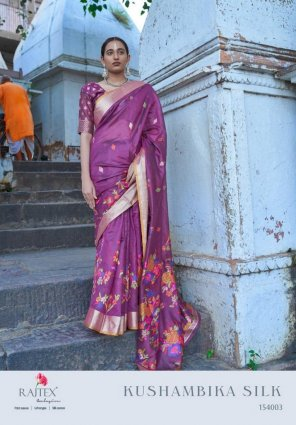 purple cotton silk fabric printed work festival