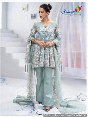 ice blue butterfly net fabric embroidery work party ware
