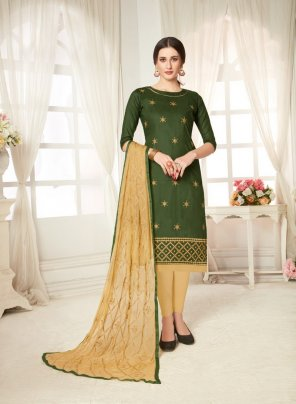 green cotton fabric embroidary work casual