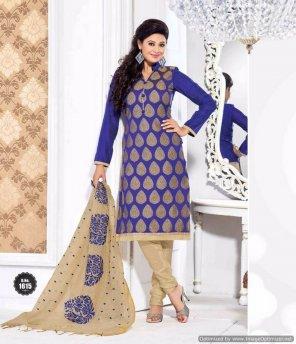 blue banaras silk fabric printed work casual