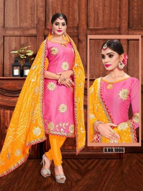 pink modal chanderi fabric embroidery work festival