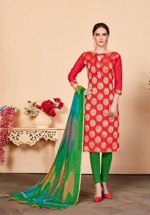 red banarasi silk fabric printed work festival