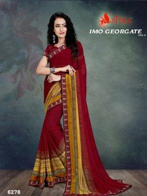 maroon georgette fabric printed work casual