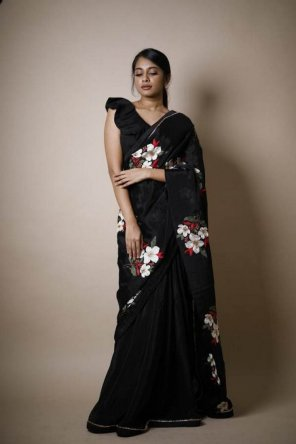 black vichitra silk fabric embroidery butta work party