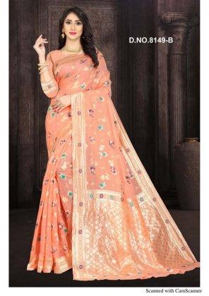 peach banarasi silk fabric weaving work wedding