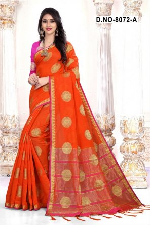 orange cotton silk fabric weaving work festival