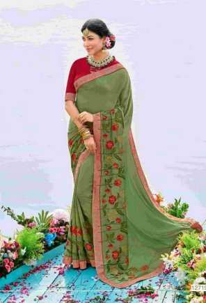 pista dola silk & italian crepe fabric embroidery work wedding
