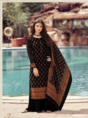 black velvet fabric digital printed work casual