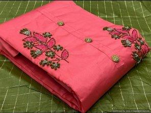 pink chanderi fabric handwork work festival