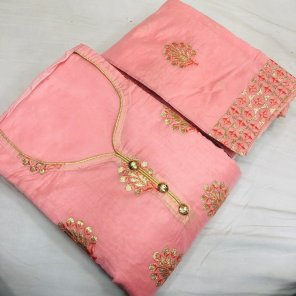 pink heavy modal  fabric embroidery work casual