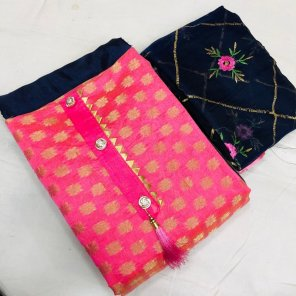 pink modal jacquard fabric embroidery work casual
