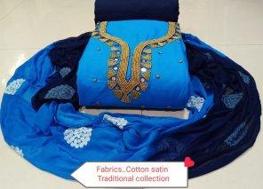 sky cotton fabric neck work work festival