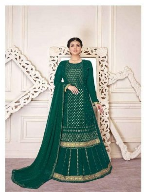 green georgette fabric embroidery work wedding
