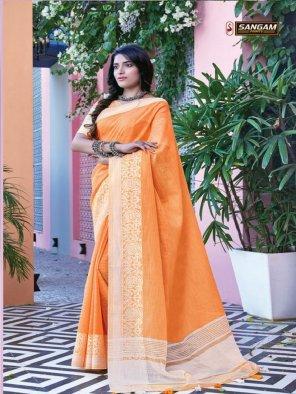 orange linen cotton fabric printed work festival