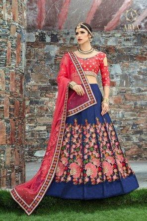 navy blue malbari silk fabric resham work wedding