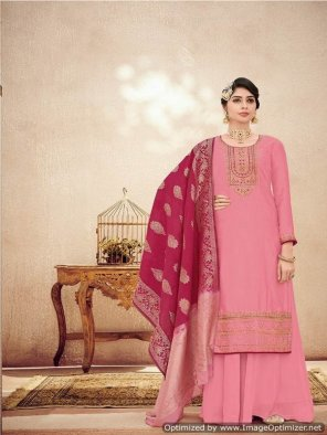 pink georgette  fabric embroidery work wedding
