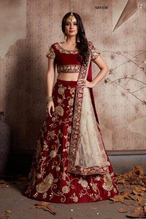 maroon velvet silk fabric sequence work wedding