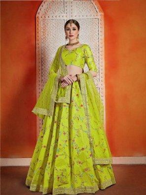 neon green art silk fabric sequence work wedding