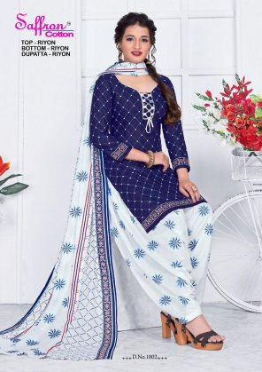 blue rayon cotton fabric printed work casual