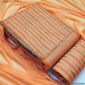 orange cotton  fabric mirror work work casual