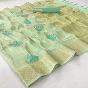 pista tissue  fabric zari weaving work casual