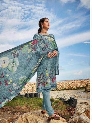 airforce blue pure lawn fabric printed work reguler