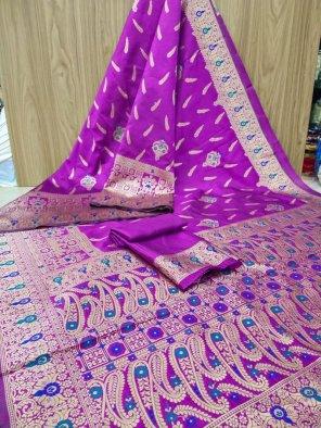 purple banarasi jacquard fabric weaving work festival