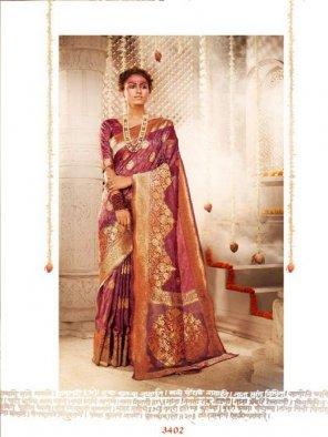 purple banarasi silk fabric weaving work wedding