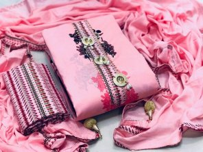 pink cotton fabric embroidery work casual