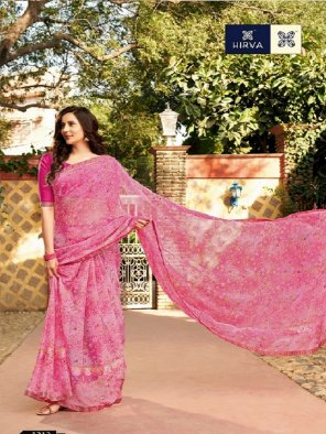 hot pink chiffon fabric printed work festival