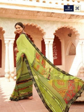 olive georgette fabric printed work festival